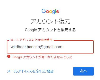 アカウントの確認のためのメールアドレス入力